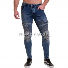 Ventiuno Jean slim-fit stretch bleu clair élastique modèle Destroy dechiré confortable avec fermeture éclair