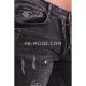 Ventiuno Jean slim-fit stretch gris chiné peinture élastique modèle Destroy dechiré confortable avec fermeture éclair