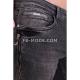 Ventiuno Jean slim-fit JAGUAR stretch noir zipper laterale élastique modèle Destroy dechiré confortable avec fermeture éclair