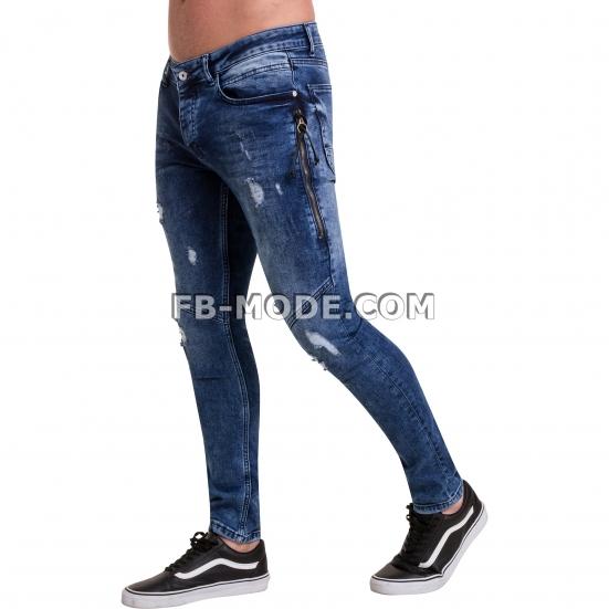Ventiuno Jean slim-fit JAGUAR stretch bleu foncé zipper laterale élastique destroy dechiré confortable avec fermeture éclair