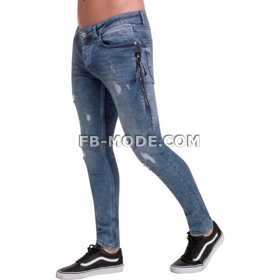 Ventiuno Jean slim-fit JAGUAR stretch bleu clair zipper laterale élastique destroy dechiré confortable avec fermeture éclair
