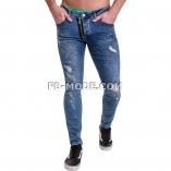 Ventiuno Jean slim-fit GRUNDGE stretch peinture bleu foncé zipper laterale élastique destroy dechiré confortable avec fermeture