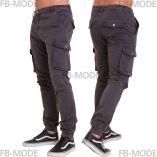 Pantalon cargo Unitif G02 gabardine épais slim-fit gris