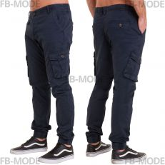 Pantalon cargo Unitif G01 gabardine épais slim-fit bleu