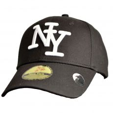 Casquette Baseball logo NY New York noir knitted en coton canvas snapback