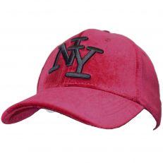 Casquette Baseball logo NY New York bordeaux burgundy Velours - Velvet snapback
