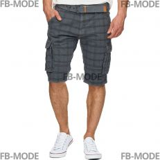 RISHI Indicode short gris carreaux ceinture inclut cargo shorts gabardine coton