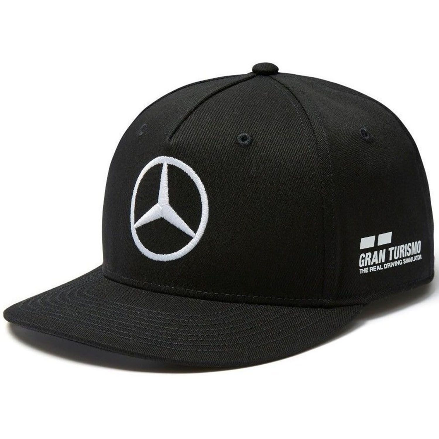 mercedes amg f1 team puma casquette noir flat brim visi re plate lewis hamilton officiel. Black Bedroom Furniture Sets. Home Design Ideas
