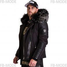 FLAVIYU Ventiuno doudoune homme bi-matière cuir d'agneau noir et fourrure véritable silver