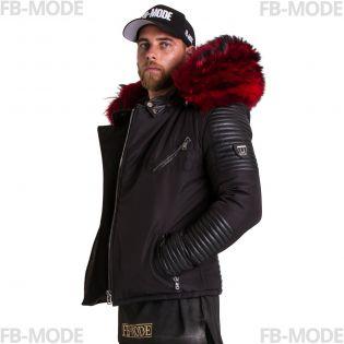 Ventiuno Ekos Veste Doudoune Bi-matière noir fourrure véritable rouge épaisseur maximum - cuir d'agneau